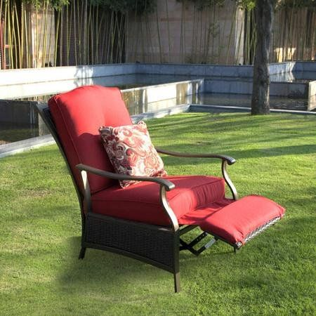 Providence Outdoor Recliner, Sturdy Steel Construction, With Features A  Folding Footrest, Seat Has
