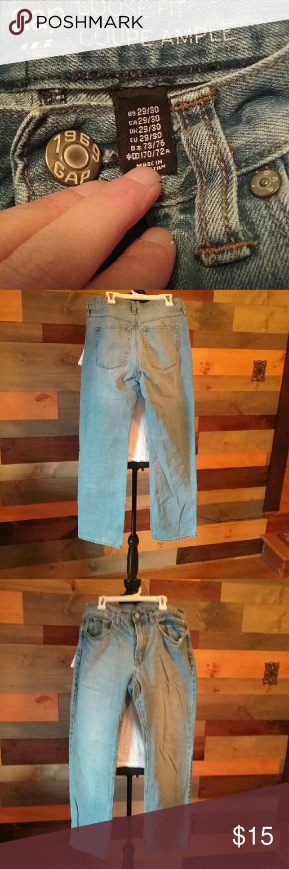 Gap light wash jeans. Size 29x30. Light wash jeans in great condition. Very light wear at bottom of legs as shown in pic 4. GAP Jeans
