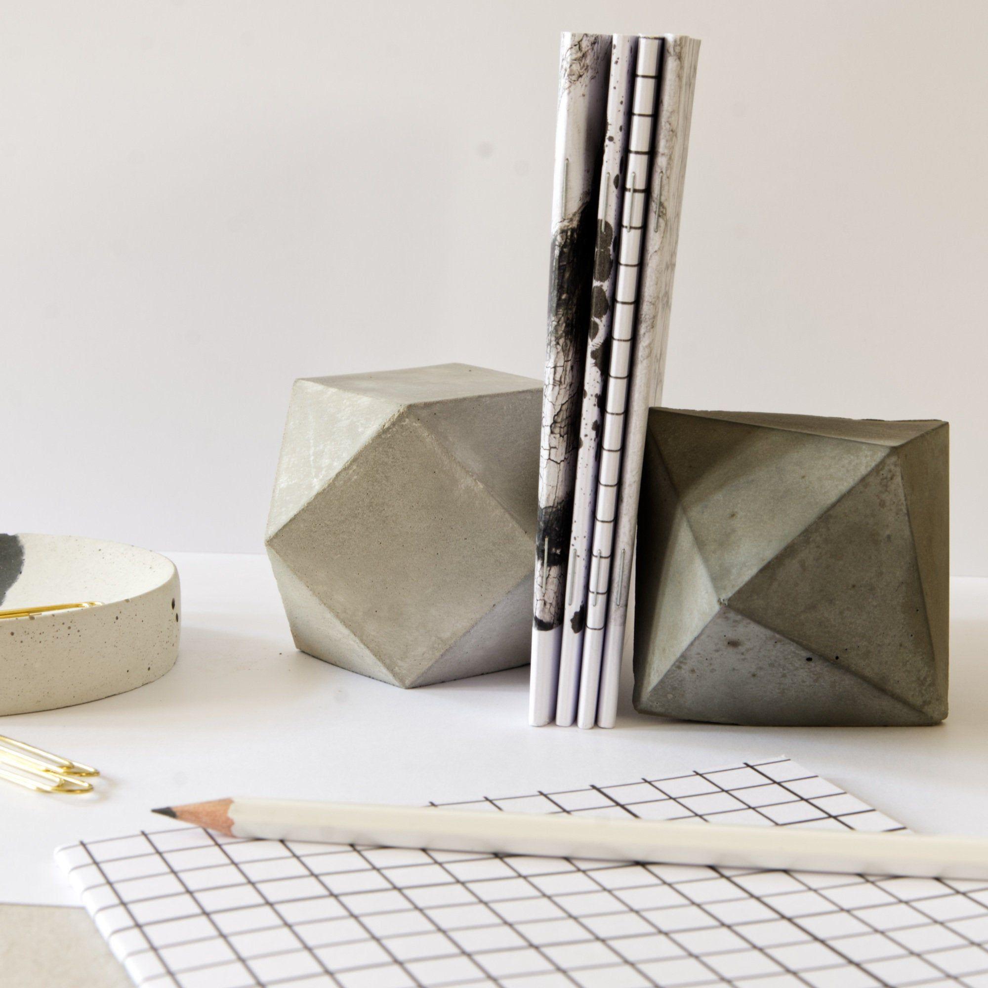 Geometric Concrete Decor Modern Modular Sculpture Art Set Of 2 Paperweight Bookend Minimal Industrial Office Or Home Decor Gift Set Concrete Decor Geometric Bookends