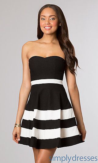 Black And White Short Strapless Dress At Simplydresses Winter