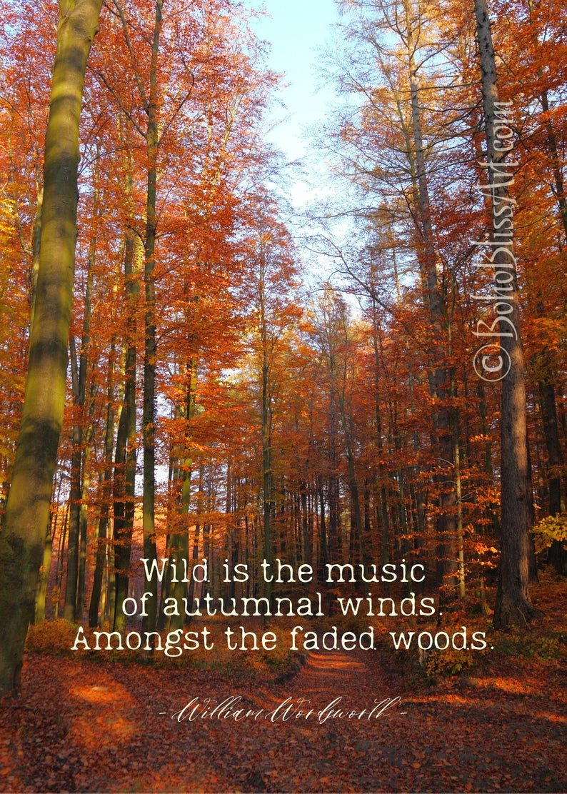 William Wordsworth Autumn Quote Wild Is The Music Of Autumnal Etsy Fall Wall Art Autumn Quotes Nature Inspiration