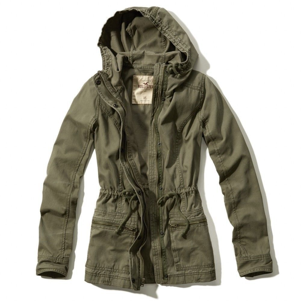 Hollister!Girls New Hooded Olive Green Cotton Parka Jacket ...