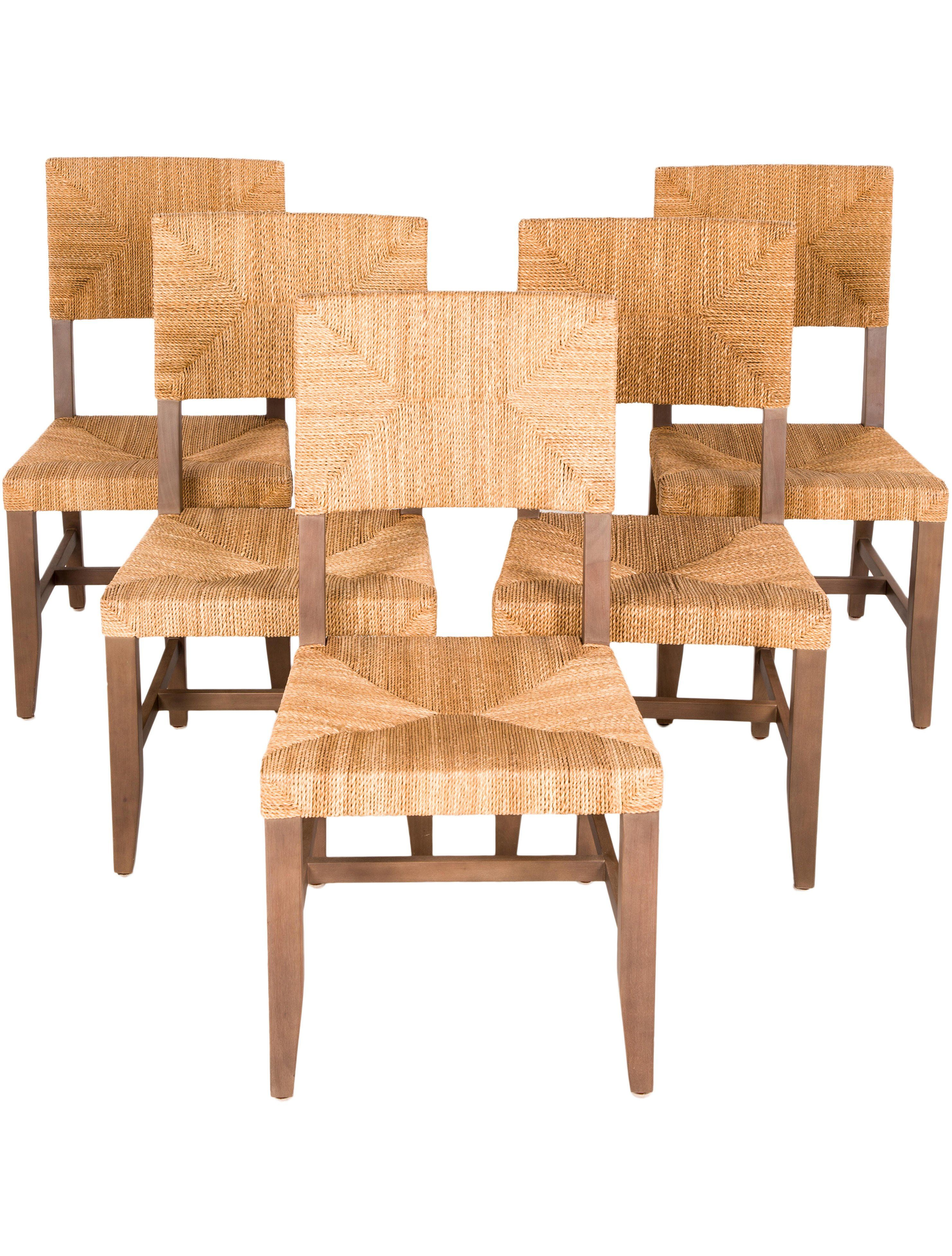 Set of 5 dark brown wood contemporary style chairs with rush fiber weave construction at