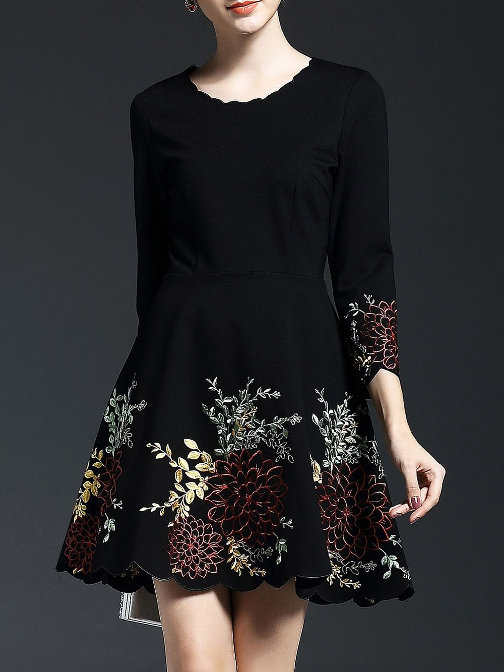 Shop Black Flowers Embroidered A Line Dress Online Shein Offers Black Flowers Embroidered A Line Dress Amp M Velvet Dress Designs Fashion Embroidery Fashion [ 1333 x 1000 Pixel ]
