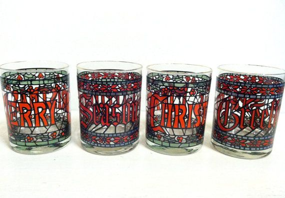 4 Vintage Stained Glass Christmas Holiday by Houze CaliGoldVintage