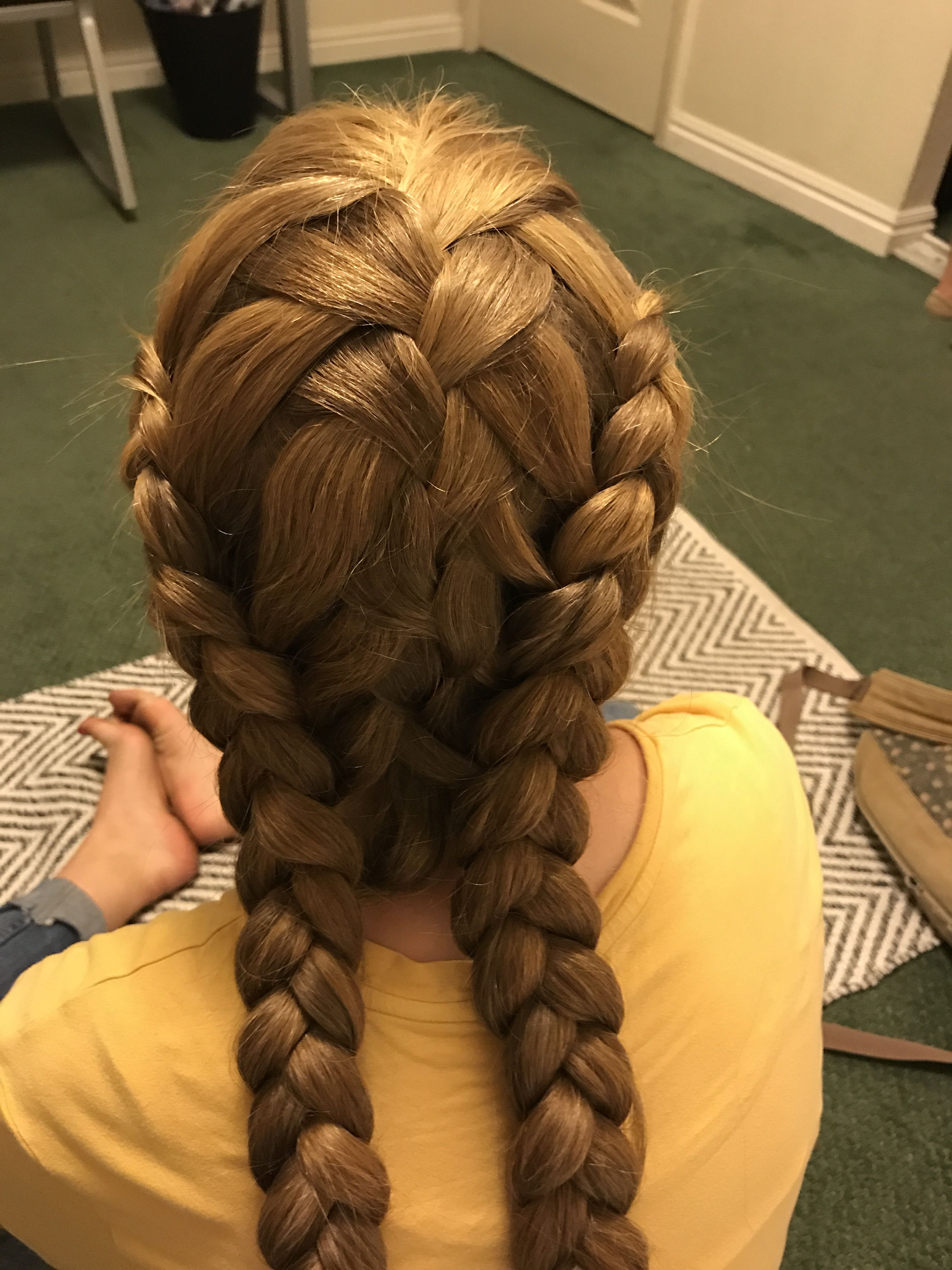 Waterfall Braid Down The Middle And Two Inside Out French Braids On Either Side Inside Out French Braid Waterfall Braid Braids With Beads