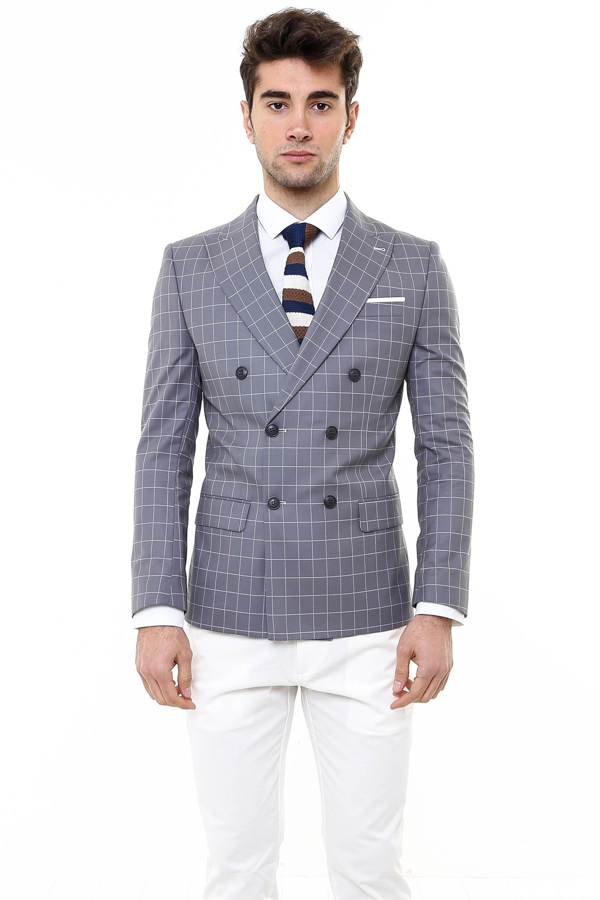 Wessi Double Breasted Combination Plaid Suit | Men's look ...