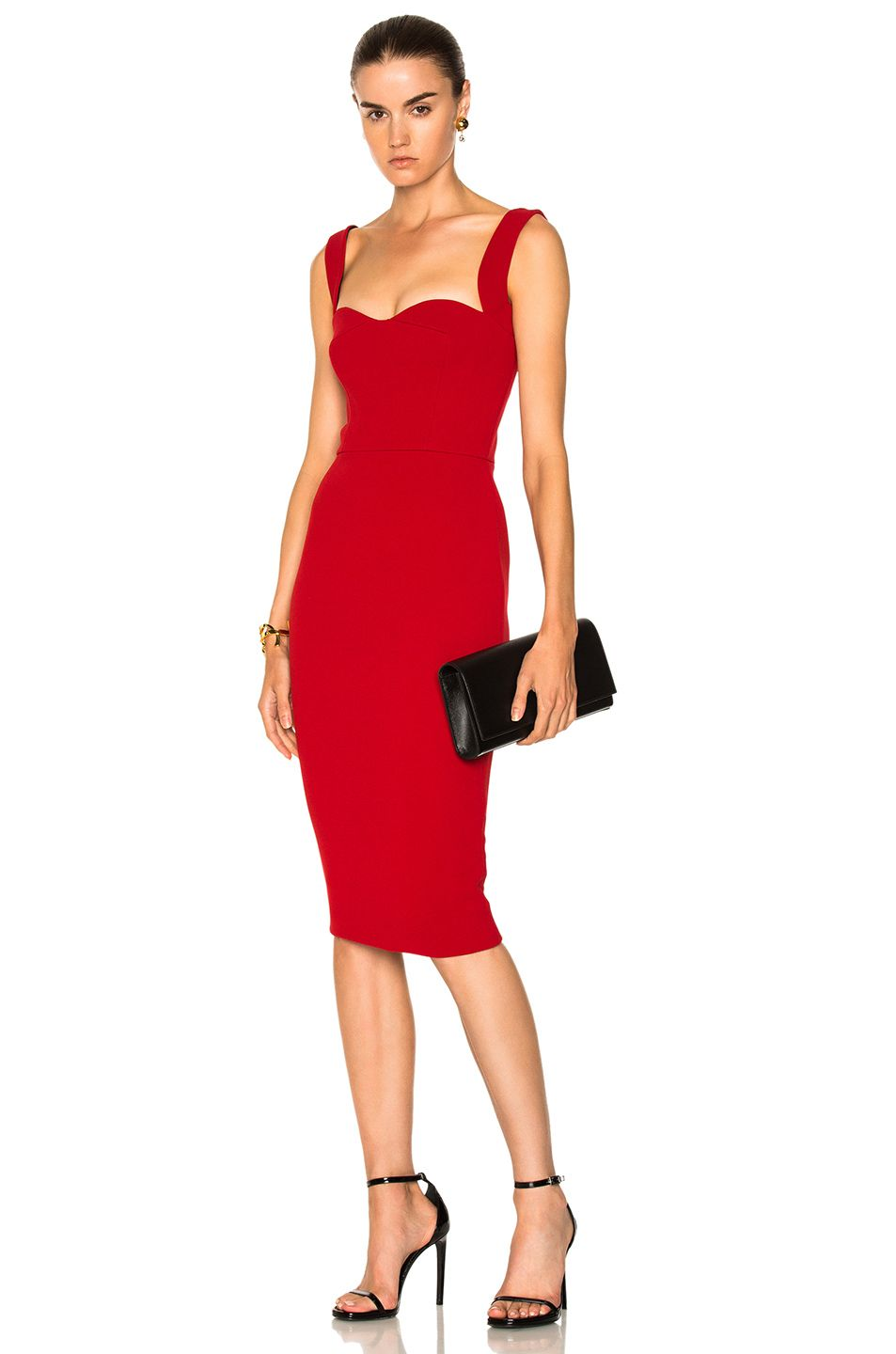 Image 1 Of Victoria Beckham Matte Crepe Curve Cami Fitted Dress In Red Bandage Midi Dress Dresses Red Cocktail Dress [ 1440 x 953 Pixel ]