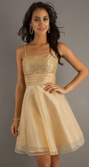 Short Gold Dama Dress Spaghetti Strap A Line Skirt Glitter $87.99 ...