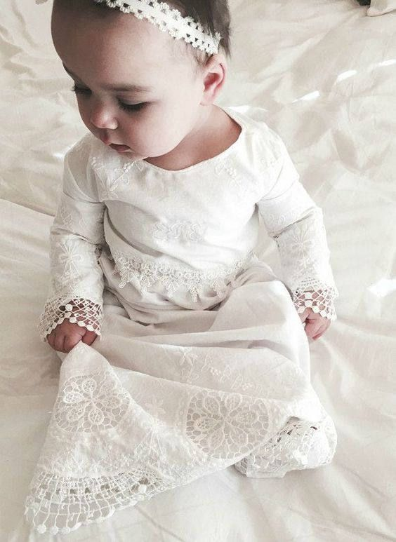 430ed525a christening gown Baptism dress - Elegant Heirloom style embroidered with  cotton trimmed milk white cut out delicate cotton lace ----made in the USA  Miss ...