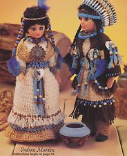 Indian Princess Crochet Doll Patterns | ... INDIAN PEACEMAKERS DOLLS SEWING PATTERN CRAFT PROJECT FABRIC DOLL #indianbeddoll