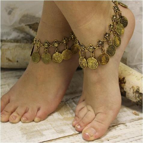 bella ankle bracelet antique gold
