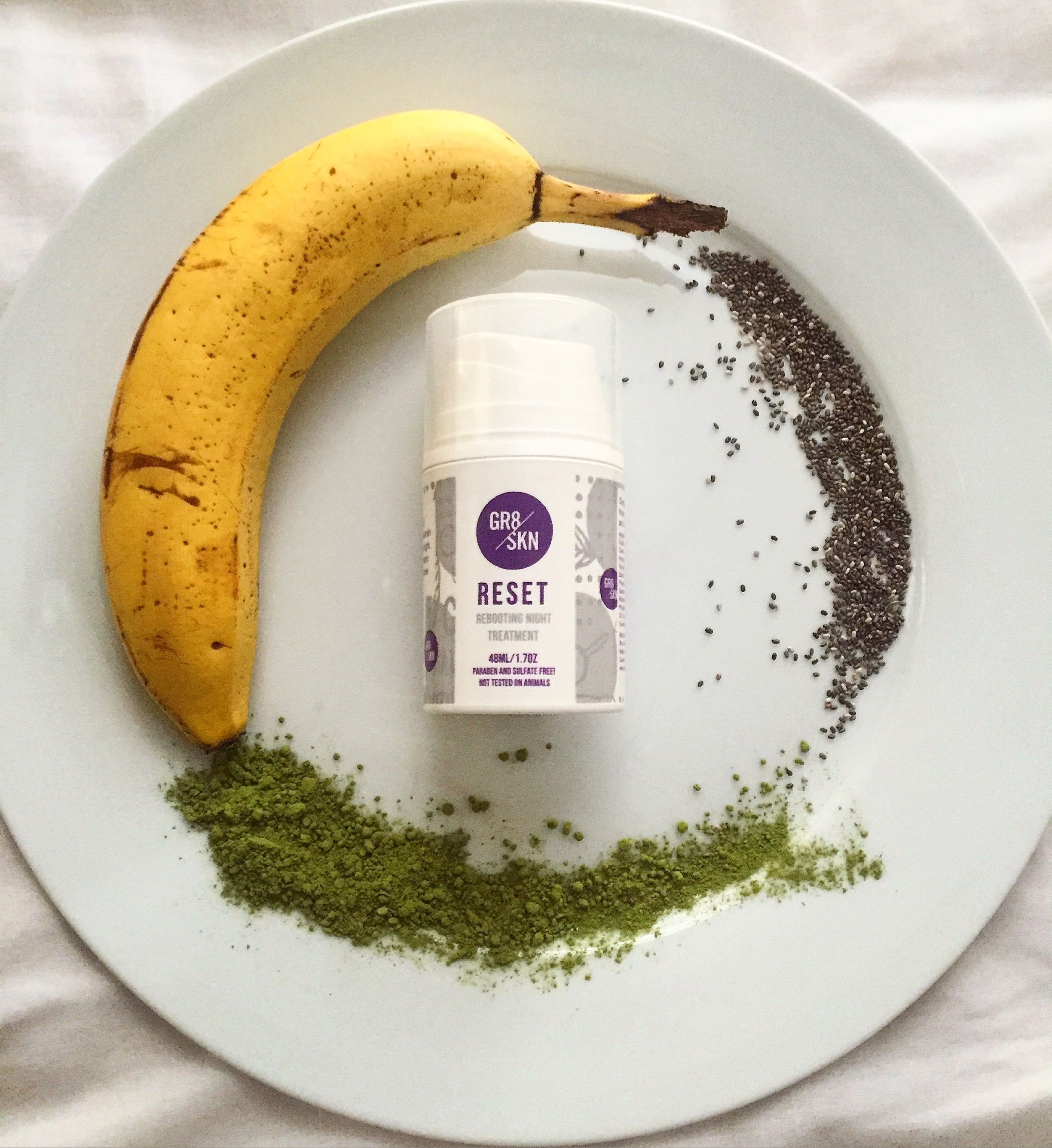 Healthy eating along with a GR8 SKN skincare routine is vital to beautiful skin! I add matcha and chia seeds to my diet along with RESET to my night time skincare routine!
