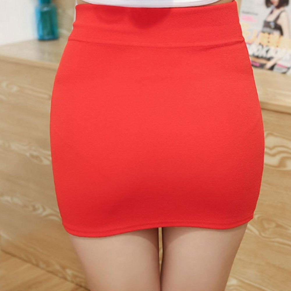 Short Red Mini Skirt Women/'s Ladies High Waist Stretchy Party Micro Girls 050