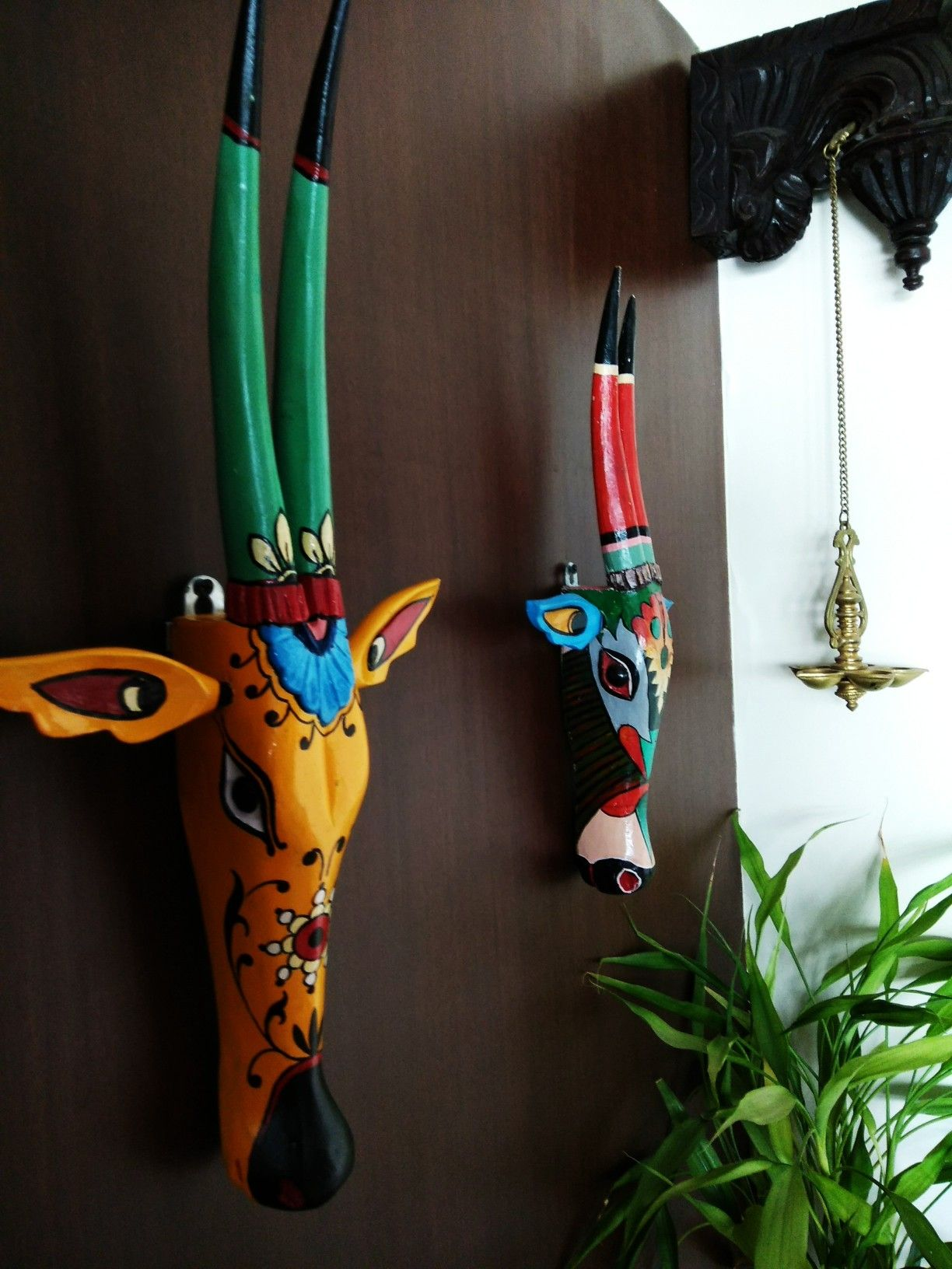 Wooden Hand Painted Cow Heads From Kochi Cow Head Decor Outdoor Wall Decor House Interior Decor