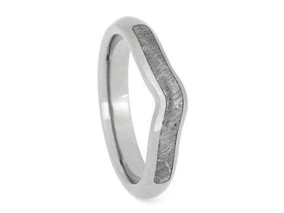 Custom Gibeon Meteorite Wedding Band or Wedding Ring Titanium Ring
