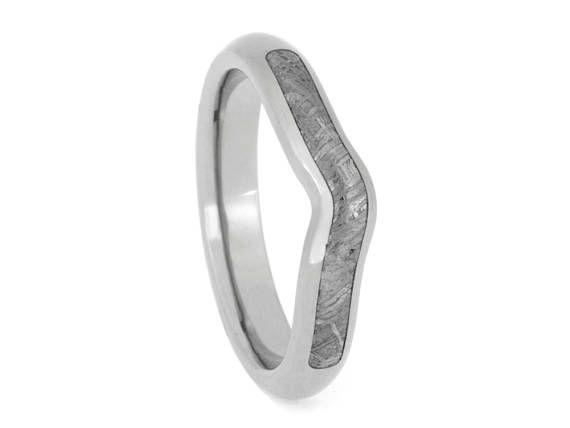 Custom Gibeon Meteorite Wedding Band or Wedding Ring Titanium Ring