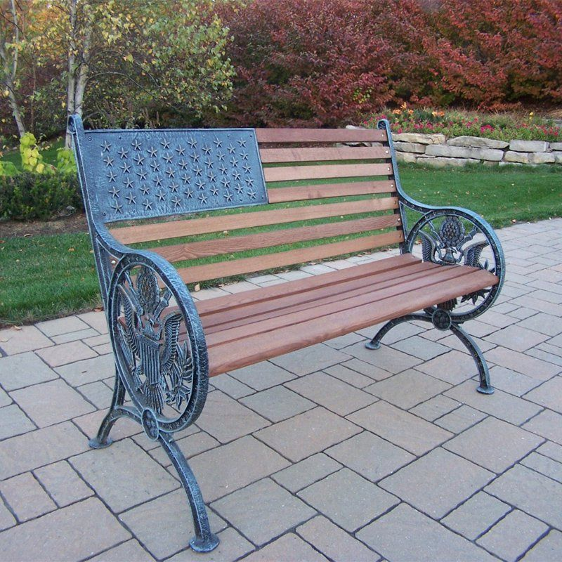 Perfect Outdoor Oakland Living Proud American Old Glory Flag Cast Iron And Wood  Bench   6011
