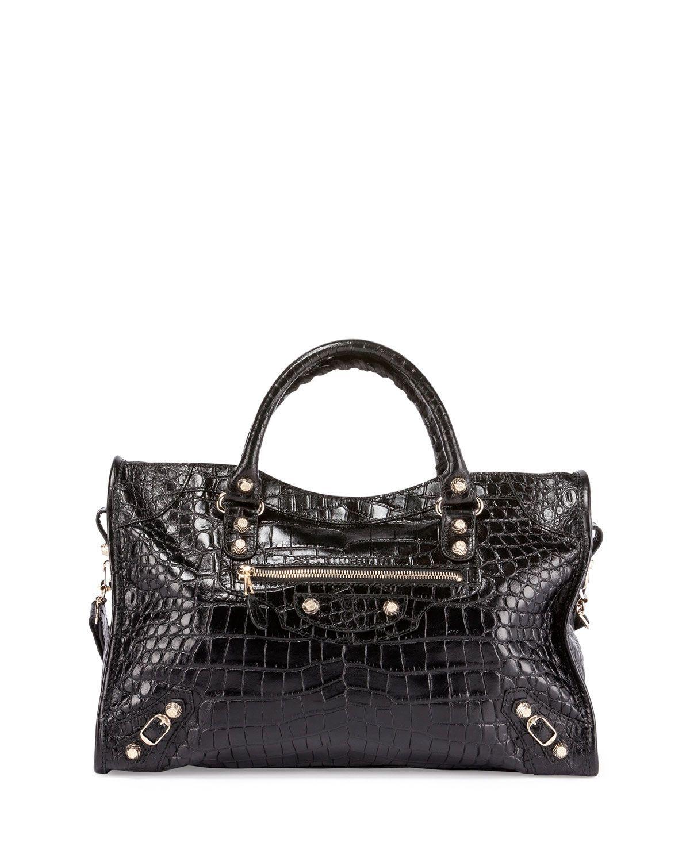 927e9fe6670 Giant 12 City Croc-Embossed Bag, Black, Women's - Balenciaga ...
