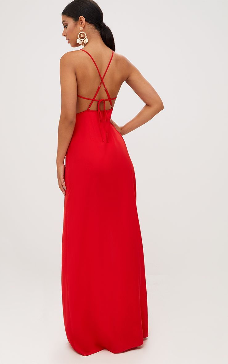 Red Strappy Back Detail Chiffon Maxi Dress Red Dress Maxi Black Dresses Classy Fashion Dresses