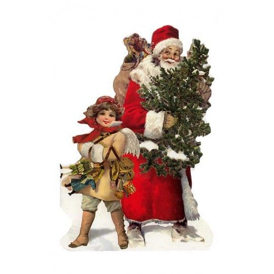 Die Cut Santa with Angel Christmas Card ~ Germany