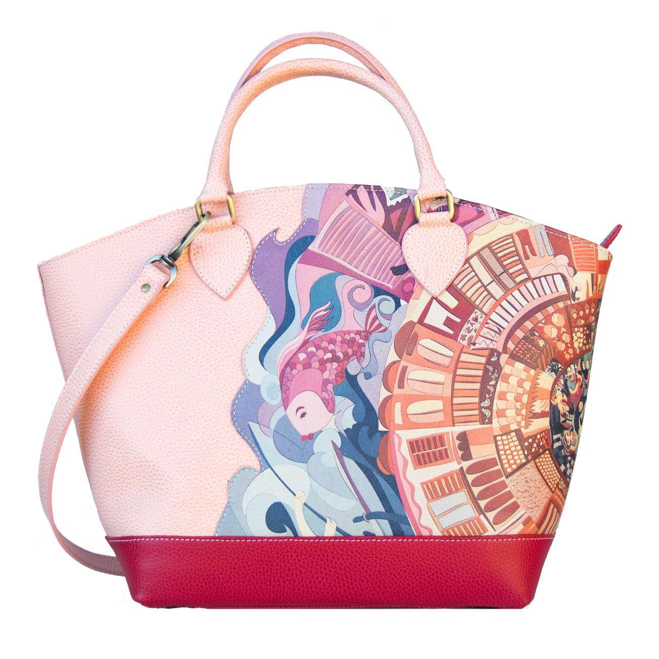 """Lè cotè Bag. Genuine Leather. """"Tramonti Pink"""" with illustration by Antonio Cotecchia Shop on http://www.lecote.it/shop.html"""