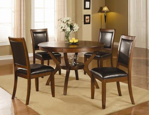 Inland Empire Furniture Abigail Brown Walnut Solid Wood and Vinyl