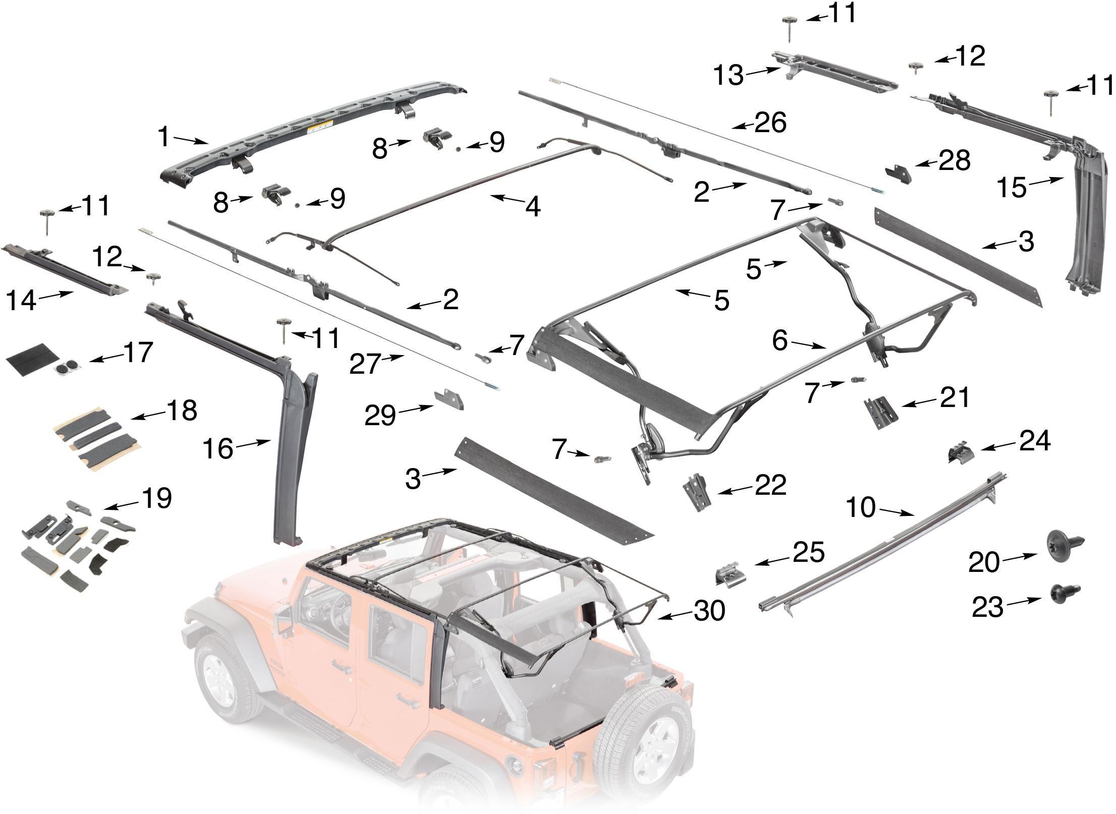 Jeep Wrangler JK Soft Top Hardware Parts 4 Door | Jeep ...