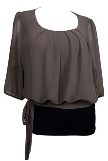 a82b50dd4d3 Plus size Sheer Chiffon Scoop Neck Blouse Gray