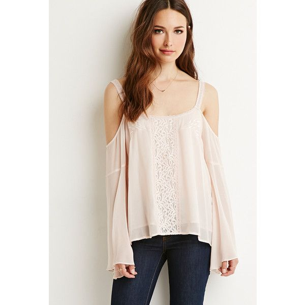 Love 21 Women's  Contemporary Lace-Trimmed Off-the-Shoulder Top ($28) ❤ liked on Polyvore featuring tops, blouses, off shoulder blouse, crochet blouse, chiffon blouse, chiffon top and floral blouse