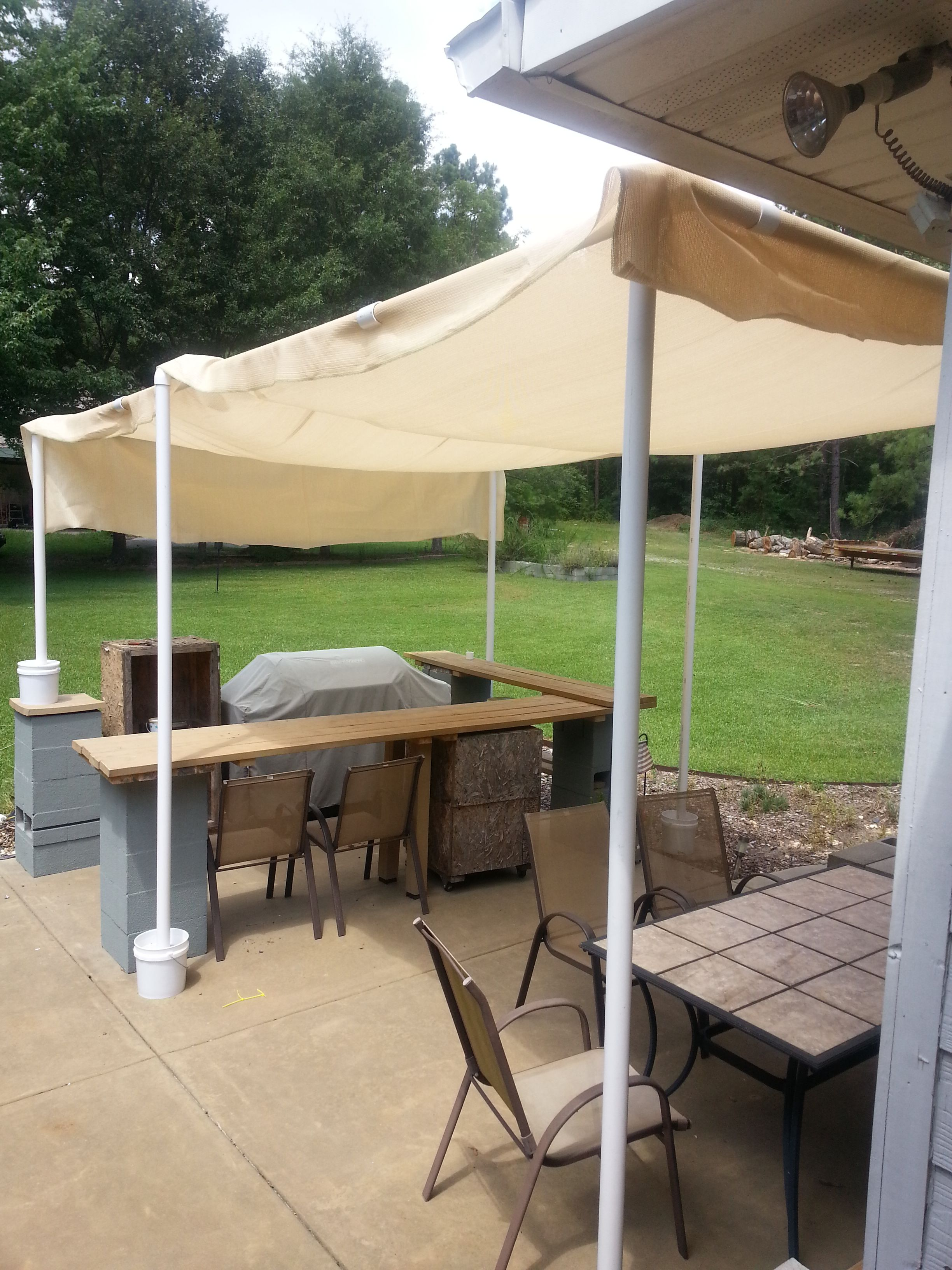 Pin On Stuff I Ve Made Built Pvc Pipe Canopy For Backyard Bar And Grill