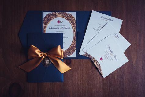 Belleza y la bestia de invitación de boda | Cartera de bolsillo | Marina de guerra | Oro | Invitación del partido de Quinceanera | Invitación de boda | Boda de Disney