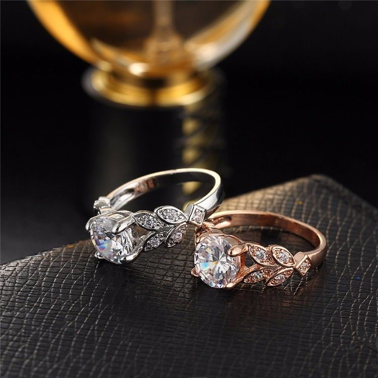 9b9f51263 Rose Gold Unique Vintage Crystal Silver Cubic Zirconia Wedding Engagem –  KjSelections