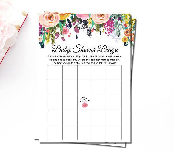 Floral Baby Shower Bingo Cards Printable Summer Baby Shower Blank