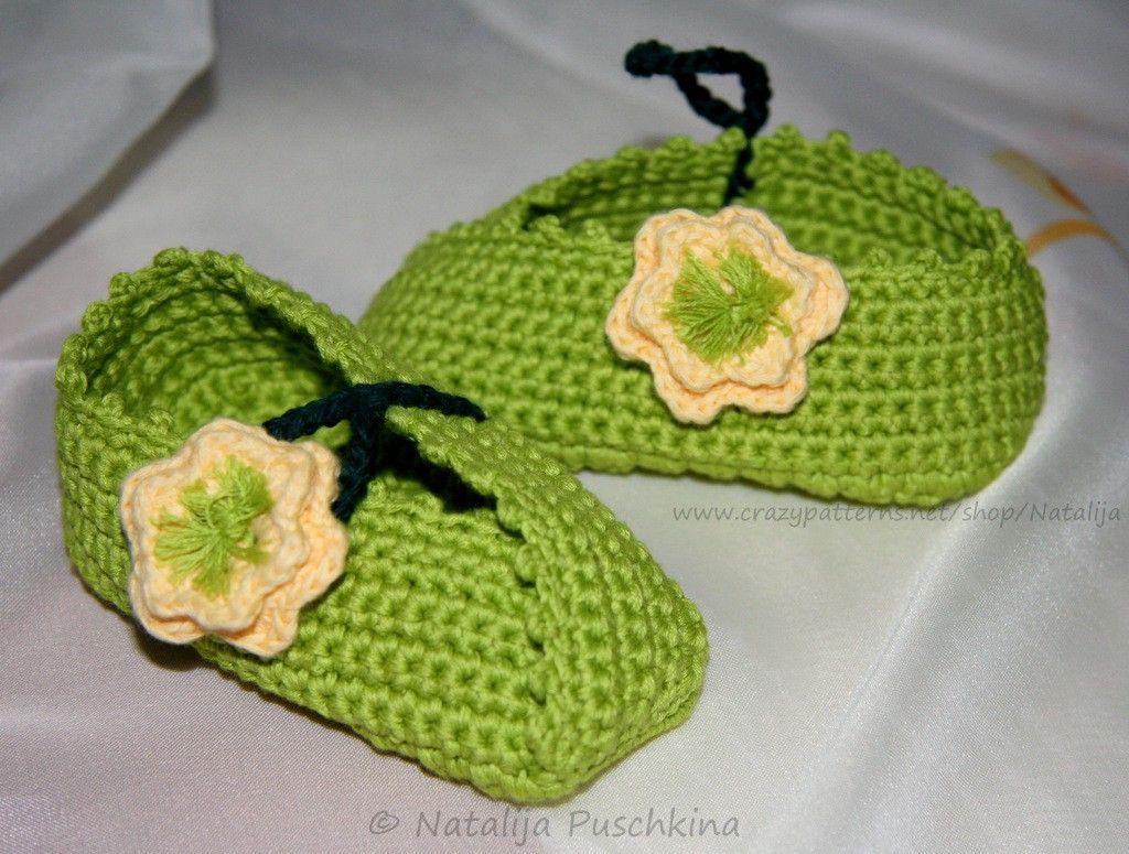 Babyschuhe mit Blume - Kostenlose Häkelanleitung Material: Weiche ...