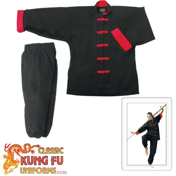 Red Trim Kung Fu Uniform with Frog Button Design | martial