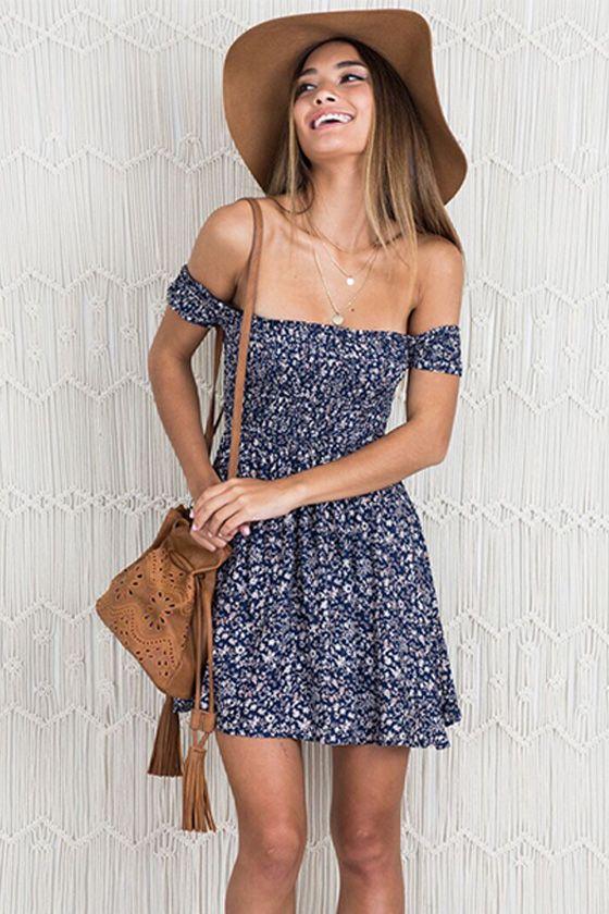 566f5c663ed Women Summer Boho Off Shoulder Short Dress in 2019 | Boho Dresses ...