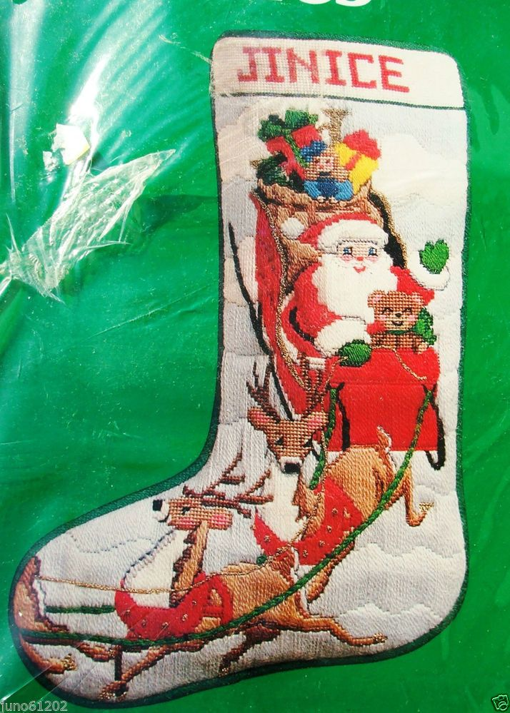 Sleigh Ride Needlepoint Stocking Kit Santa Reindeer Needle
