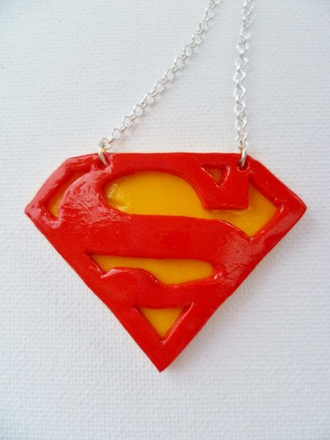 Polymer Clay Superman Symbol Necklace By Glasstorchcreations 800