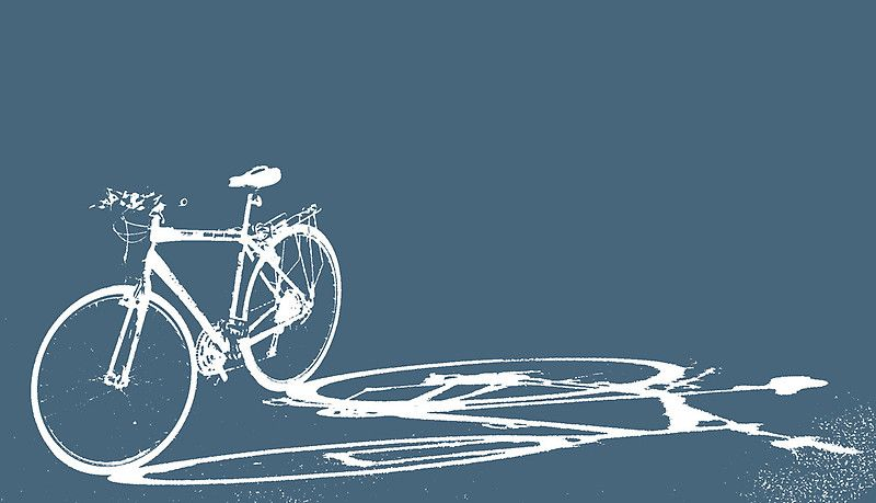 A bicycle casts a long shadow in reverse against a blue graound / or as a t-shirt here • Buy this artwork on home decor, stationery, bags y more.