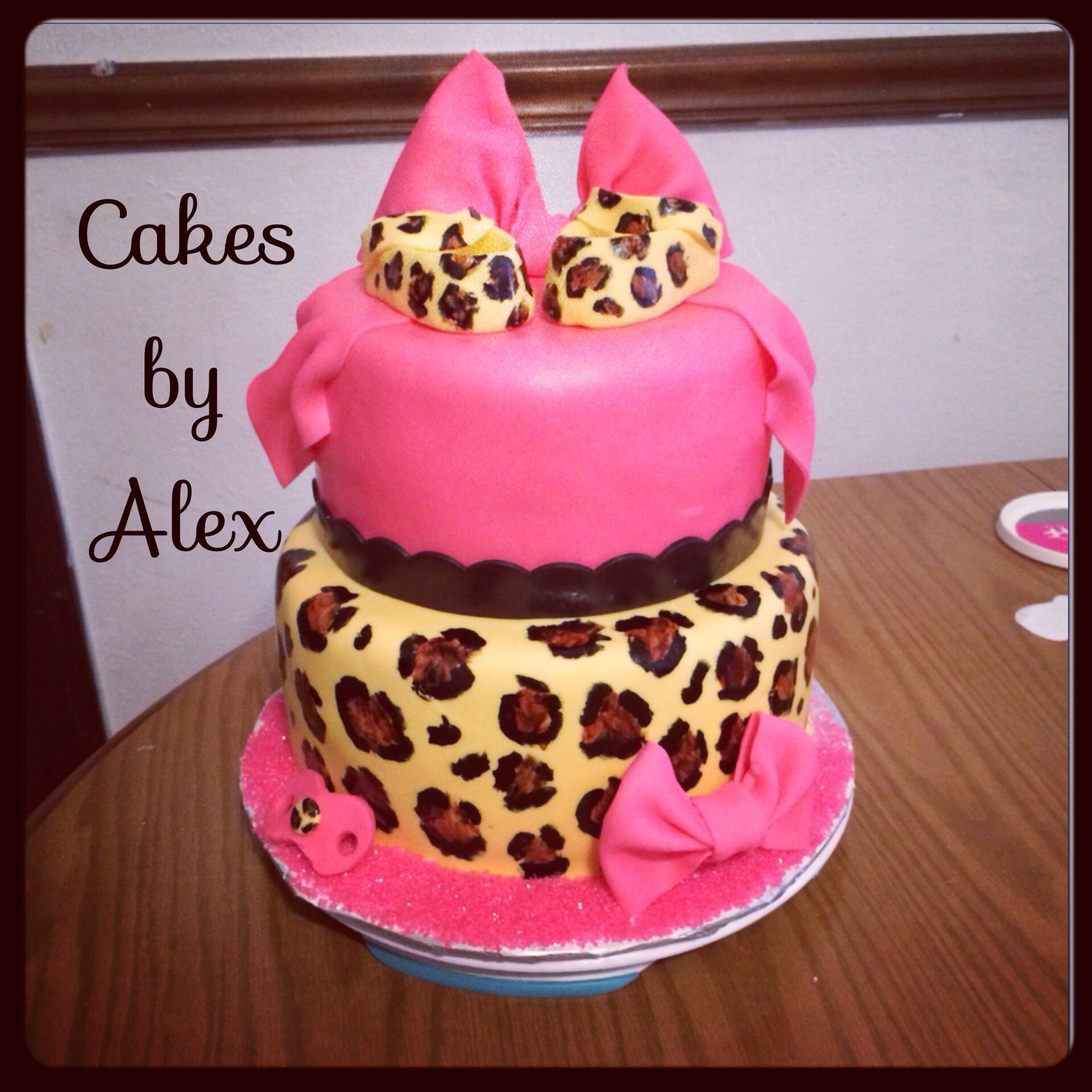 Leopard Print And Pink Baby Shower Cake
