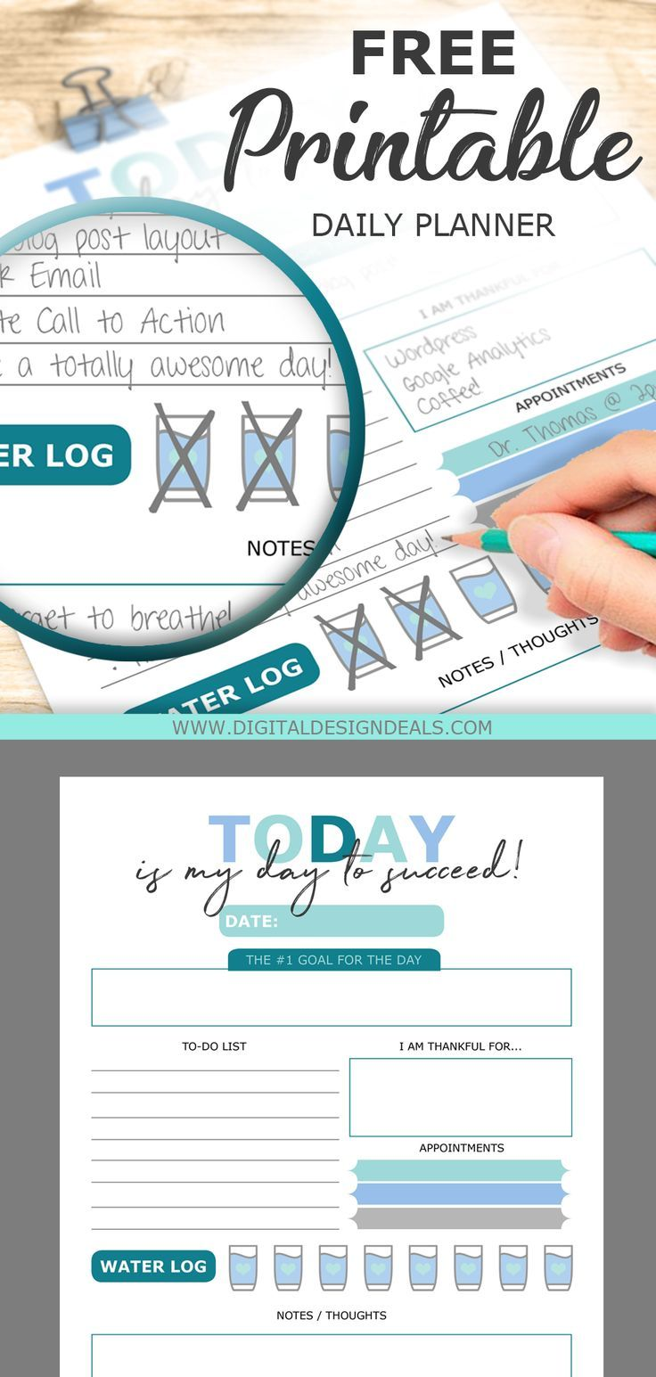 Get a FREE printable daily planner to organize your daily