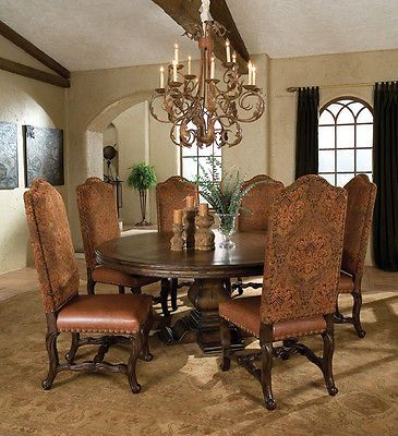 00270 2 French Style Old World 72 Round Dining Table Tuscan