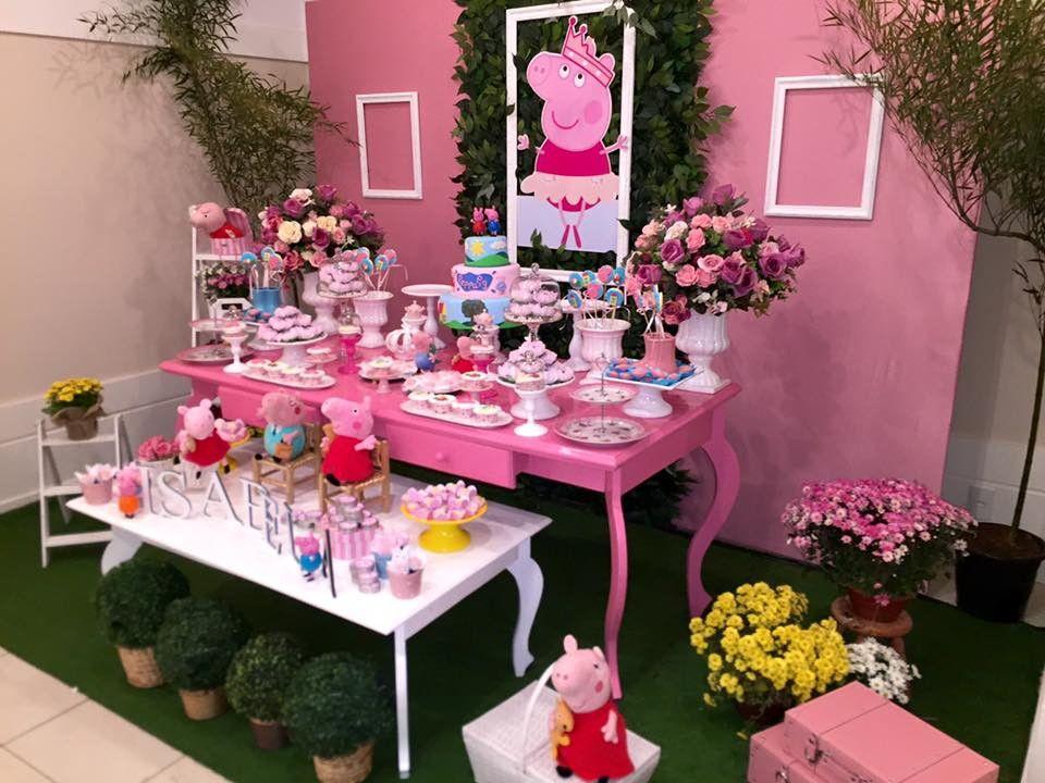 Decoração da festa peppa rosa Decoracao divertida da Peppa