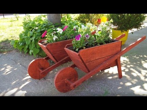Make A Rustic Wheelbarrow Garden Planter Easy Diy Weekend Project Youtube Wooden Wheelbarrow Wheelbarrow Creative Gardening
