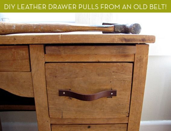 How To Turn An Old Leather Belt Into Diy Drawer Pulls Diy