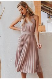 Spaghetti strap pleated v-neck midi dress#BeautyBlog #MakeupOfTheDay #MakeupByMe #MakeupLife #MakeupTutorial #InstaMakeup #MakeupLover #Cosmetics #BeautyBasics #MakeupJunkie #InstaBeauty #ILoveMakeup #WakeUpAndMakeup #MakeupGuru #BeautyProducts