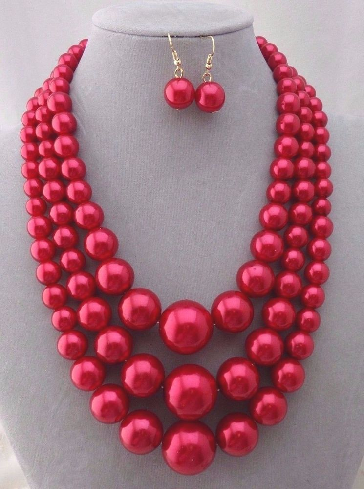 3 Layer Red Synthetic Pearl Necklace Set Gold Fashion Jewelry NEW #WildFlower