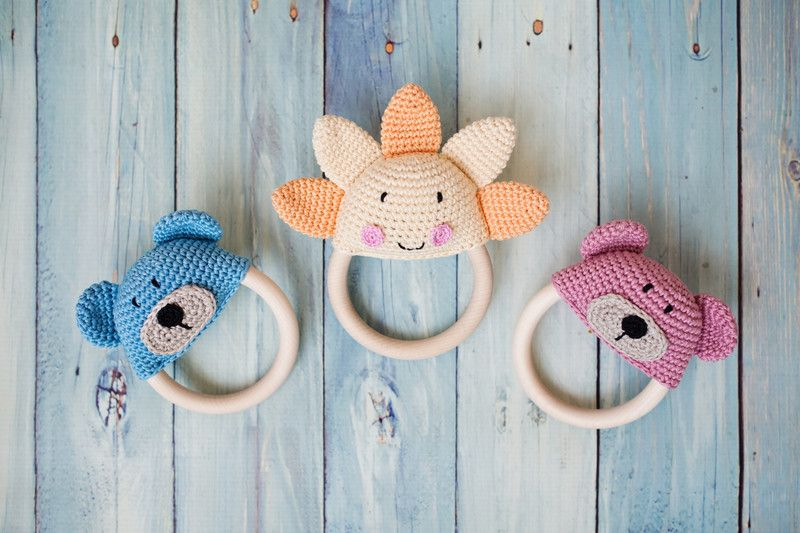 Rattles & Teething Toys – Crochet Teething Rattle Sun – a unique ...