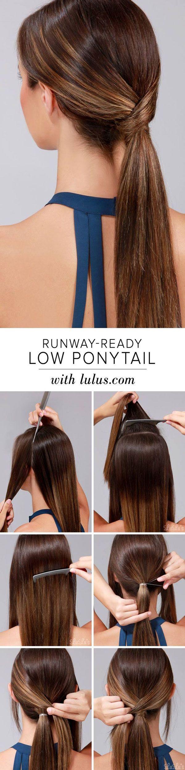 Top 10 Holiday Hair Tutorials On Pinterest Thefashionspot Hair Styles Medium Length Hair Styles Low Ponytail